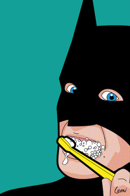 """Bat-Brush"" by Grégoire ""Léon"" Guillemin shows Bat Man brushing his teeth against a teal background."