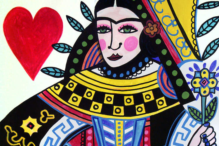 Illustration of Frida Kahlo wearing an intricate, saint-like outfit and holding a flower next to a big red heart