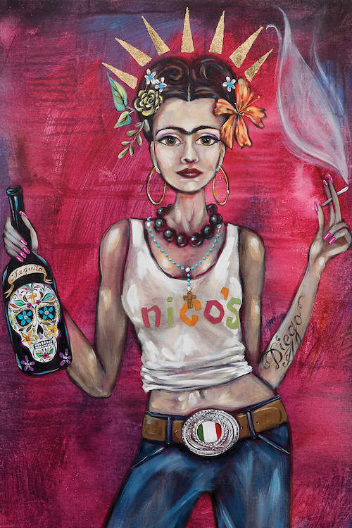 "Illustration of a modernized Frida Kahlo wearing gold hoop earrings, a tank top and jeans, a belt with the Mexican flag on it, and a ""Diego"" tattoo on her arm, holding a cigarette and a bottle of tequila"