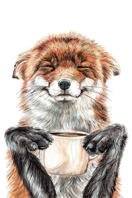 """Morning Fox"" by Holly Simental shows an orange fox holding a cup of coffee."