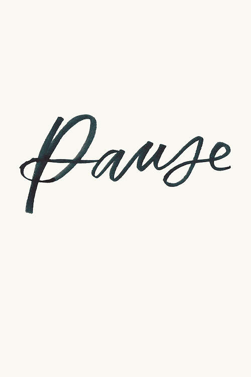 """Pause"" by Ilana Griffo shows the word ""pause"" written in script against a pale pink background."