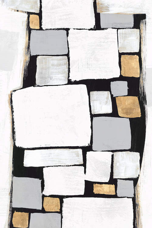"""""""Stacks II"""" by Isabelle Z shows white, silver, and gold tile-like squares."""