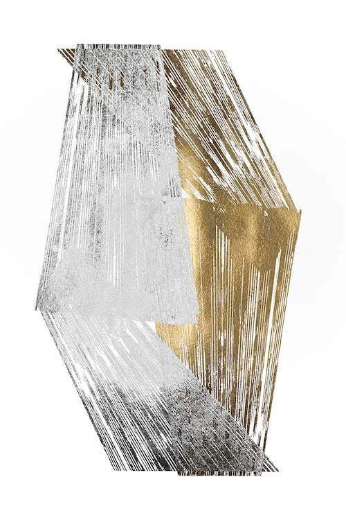 """""""Gold & Silver Foil Stripes"""" by Jennifer Goldberger shows a diamond shape created from two gold and two silver stripes."""