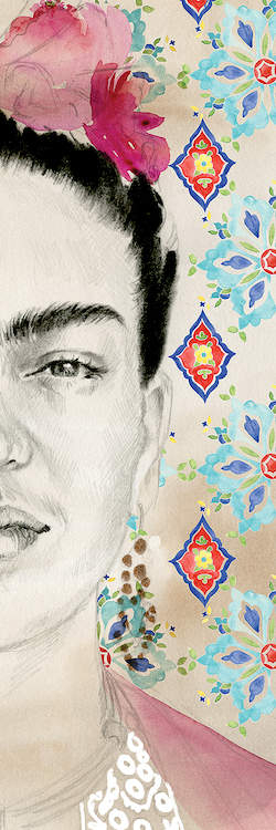 Illustration of the left half of Frida Kahlo's face with a blue, yellow, red and green wallpaper-like pattern in the background