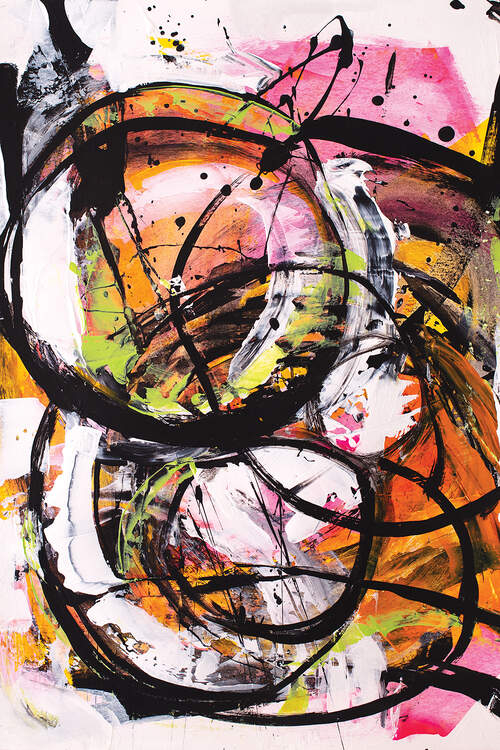 """Headed For The Open Door"" by Jude Remedios shows a pink and orange abstraction featuring black swirls."