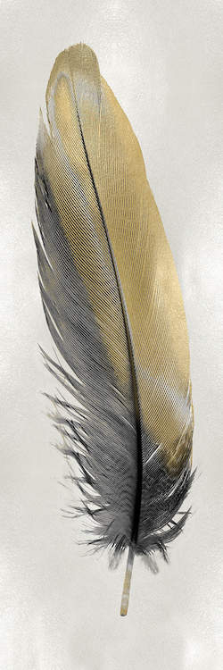 """""""Gold Feather On Silver I"""" by Julia Bosco shows a gold and gray feather on a silver background."""