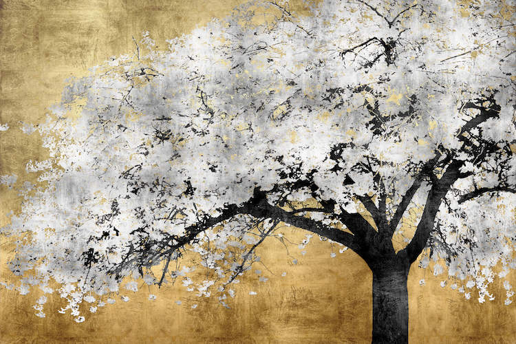 """""""Silver Blossoms"""" by Kate Bennett shows a silver cherry blossom tree against a gold background."""