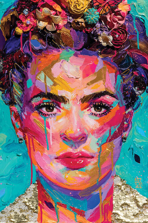 Textured, multi-color portrait of Frida Kahlo in blue, purple, pink, and gold with paint drips throughout