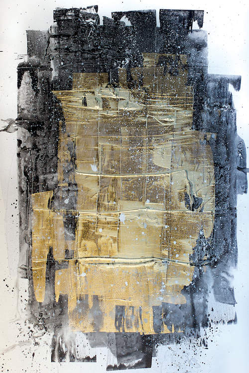 """""""Midnight Gold"""" by Kent Youngstrom shows a gold, black, and gray patch-like figure."""