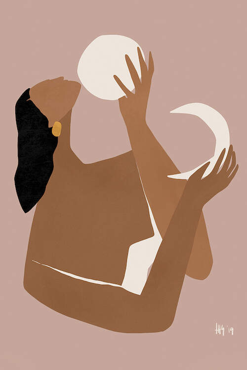 """""""Day And Night"""" by Maggie Stephenson shows a faceless woman holding a white sun and moon in her hands against a mauve background."""
