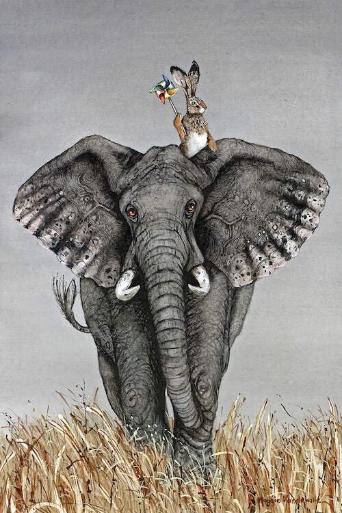 """After The Parade"" by Maggie Vandewalle shows a rabbit holding a rainbow pinwheel while sitting on top of an elephant."