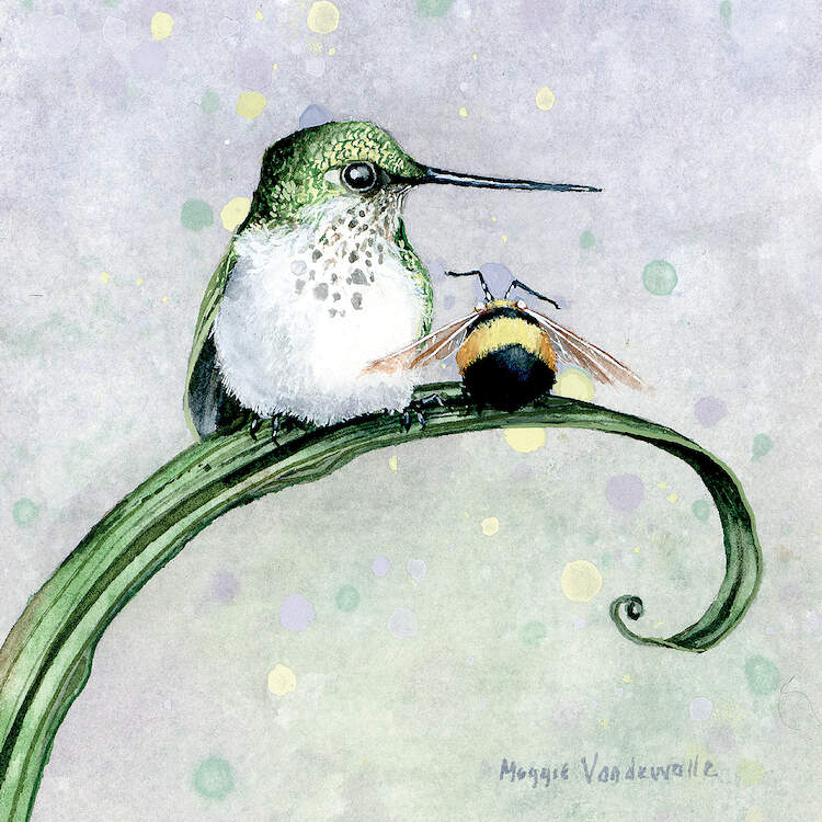 """Camaradarie"" by Maggie Vandewalle shows a bird and a bumblebee sitting on a green, curled leaf."