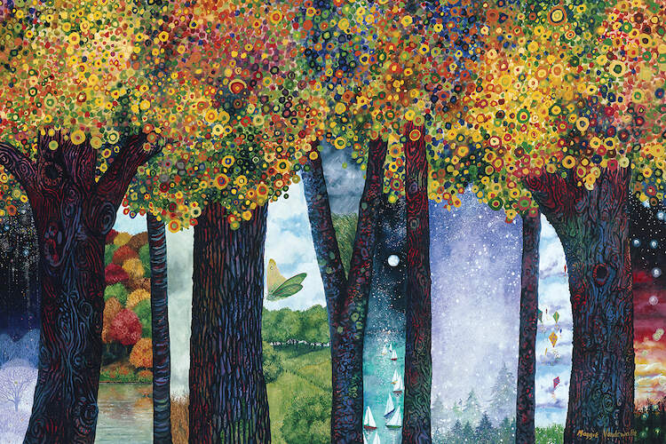 """Inbetween Places II"" by Maggie Vandewalle shows trees featuring various landscapes from summer, winter, fall, and spring peeking between their branches."
