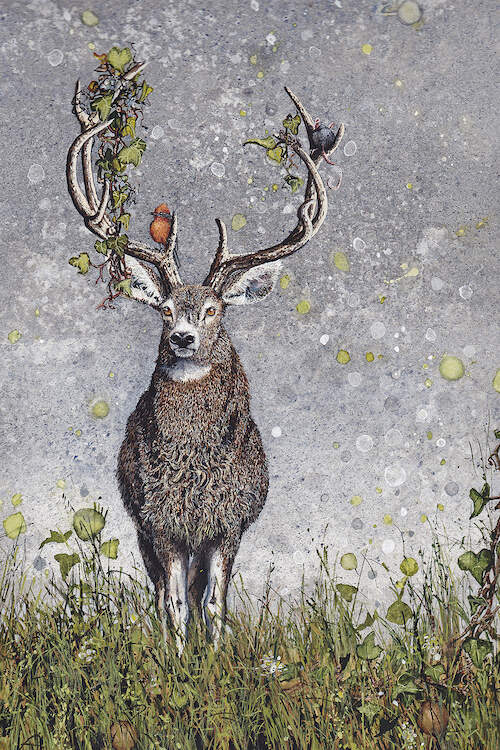 """Stag"" by Maggie Vandewalle shows a stag in tall grass with a bird and mouse sitting on its plant-filled antlers."