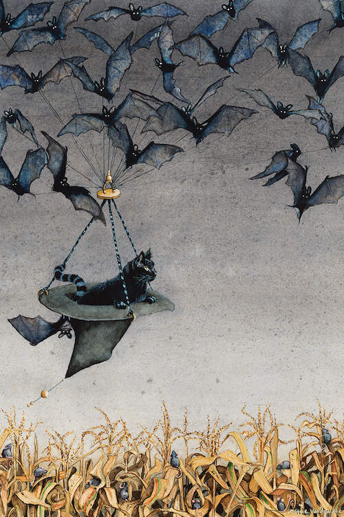 """Straight On Till Morning"" by Maggie Vandewalle shows a group of flying bats holding an upside down witch hat carrying a black cat over a dried cornfield."