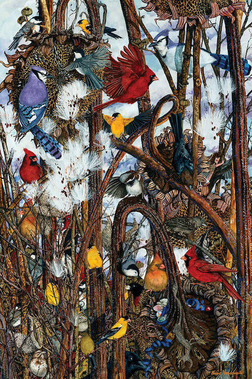 """Thicket"" by Maggie Vandewalle shows red, yellow, and blue birds sitting on twisted branches."