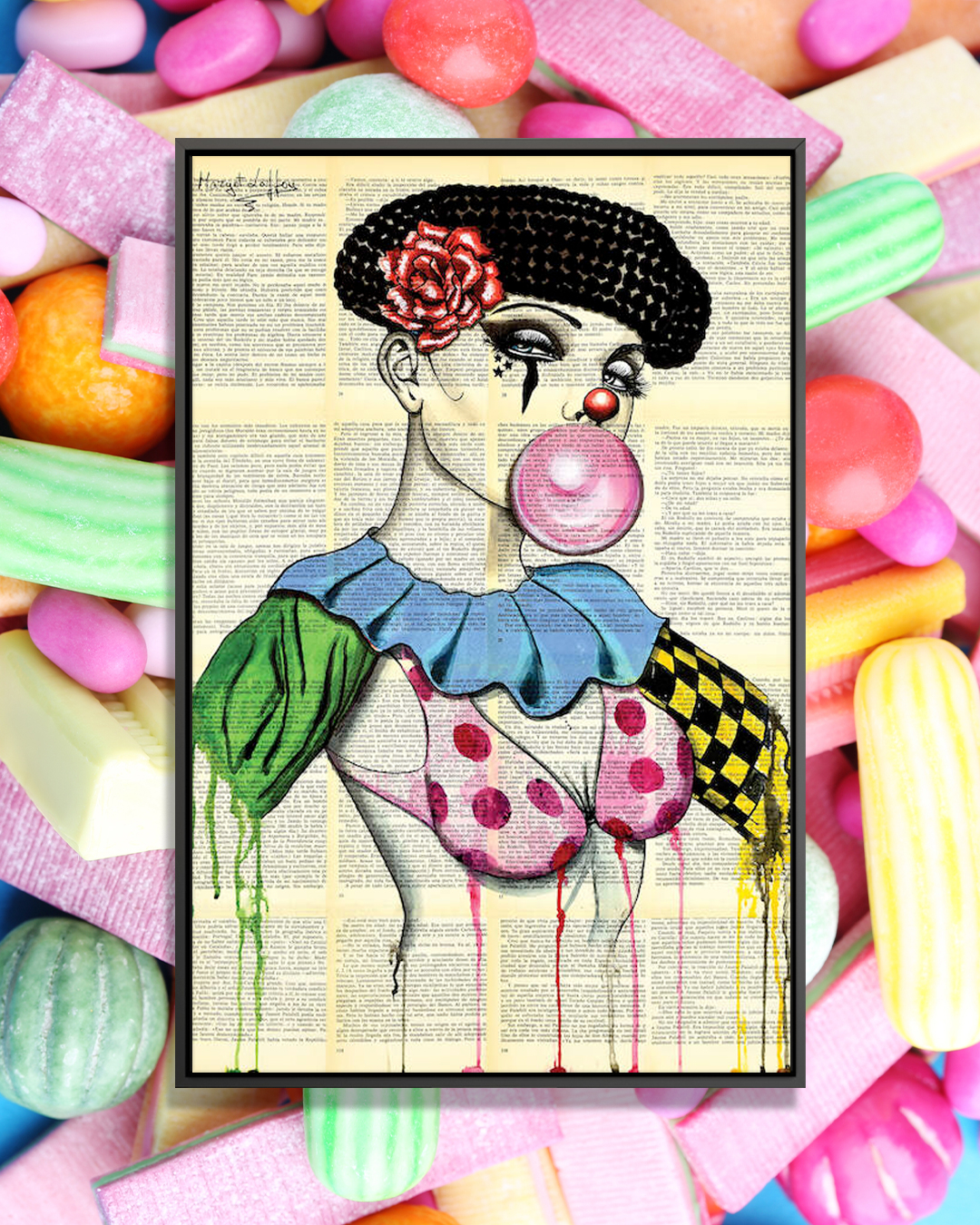 """Clown Woman Bubble Gum"" by Margot Laffon shows a woman wearing a black beret and clown attire while blowing a piece of pink bubblegum."