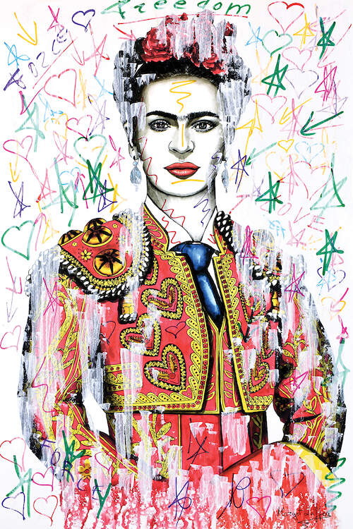 Illustration of Frida Kahlo wearing a matador uniform surrounded by hand-drawn hearts and stars