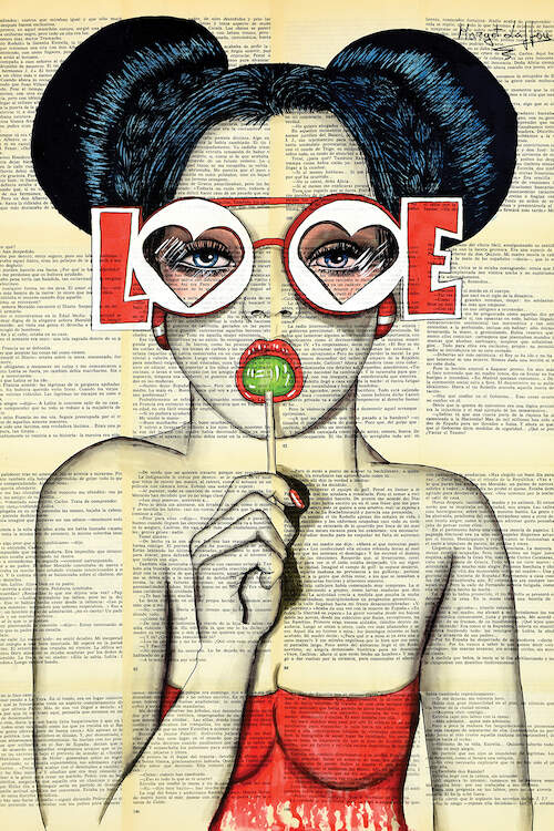 """I Love Chup II"" by Margot Laffon shows a woman in space buns wearing red sunglasses that say ""love"" while sucking a green lollipop."