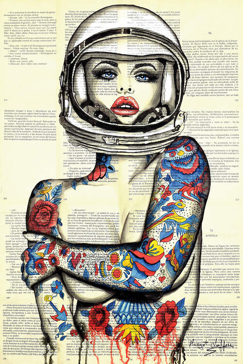 """Miss Apolo Tattoo"" by Margot Laffon shows a woman wearing an astronaut helmet as she covers her exposed chest with her tattooed arms."