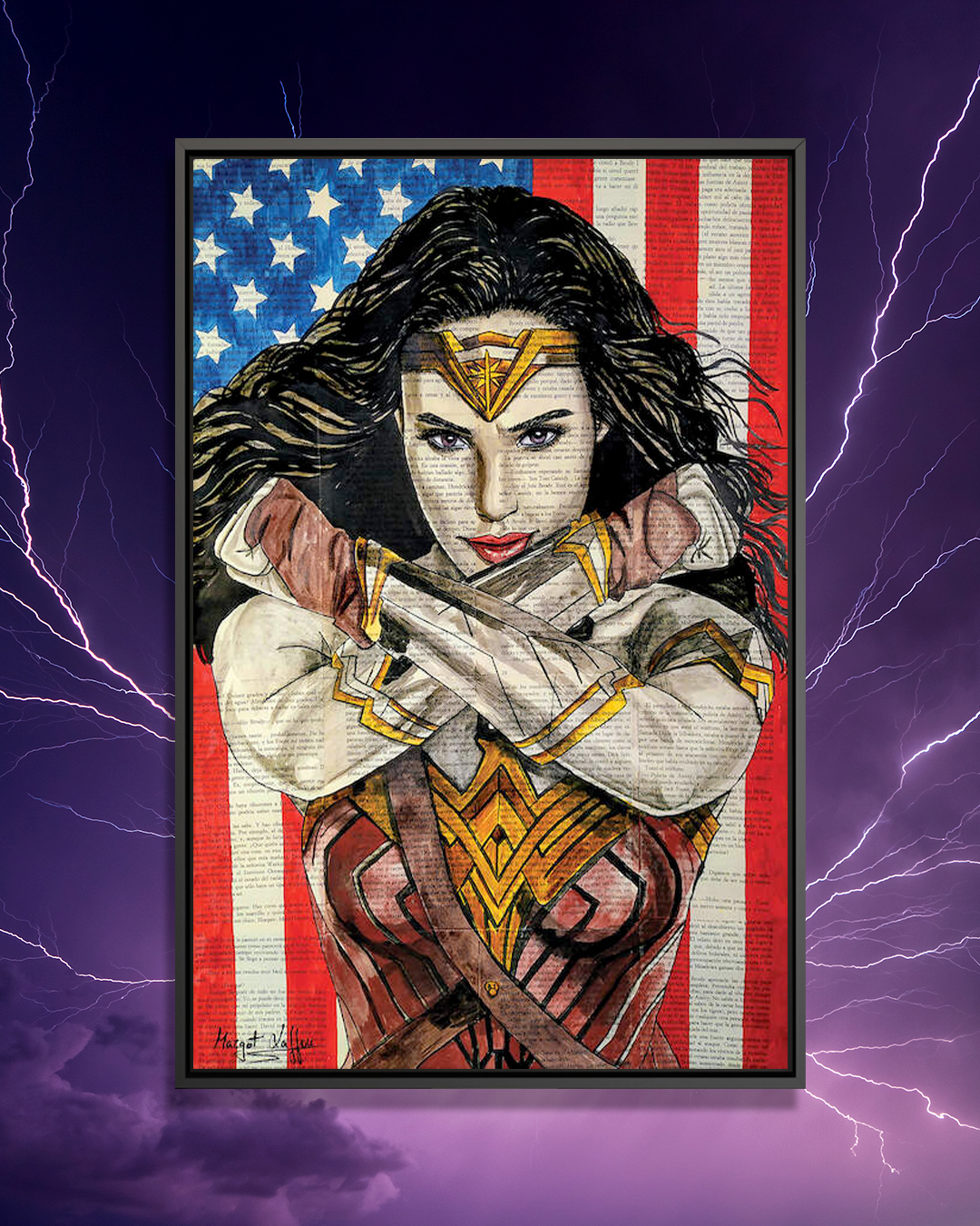 """Wonder Woman"" by Margot Laffon shows a portrait of Wonder Woman against an American flag."