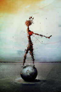 """""""Blood"""" by Mario Sanchez Nevado shows a human made out of a blood-like liquid standing on a gray ball."""