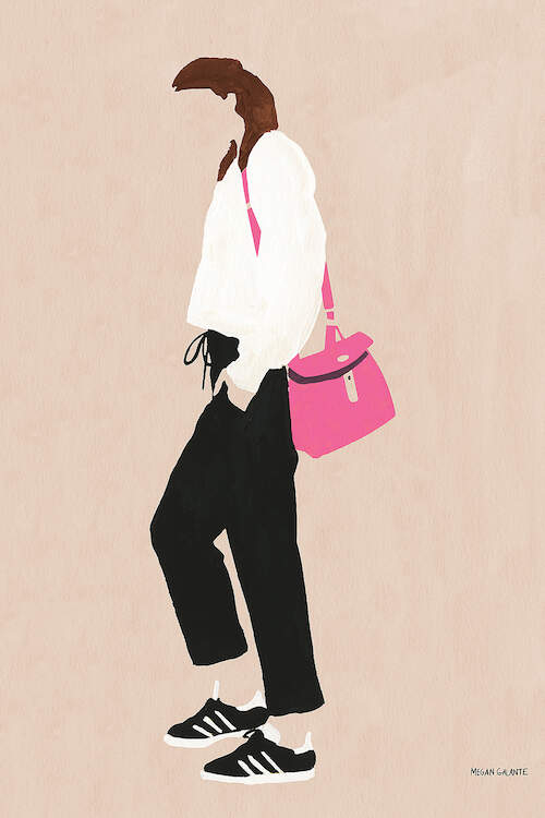 """""""Hot Pink Handbag"""" by Megan Galante shows a faceless woman wearing a white top, black pants, and black sneakers with a pink handbag over her shoulder."""