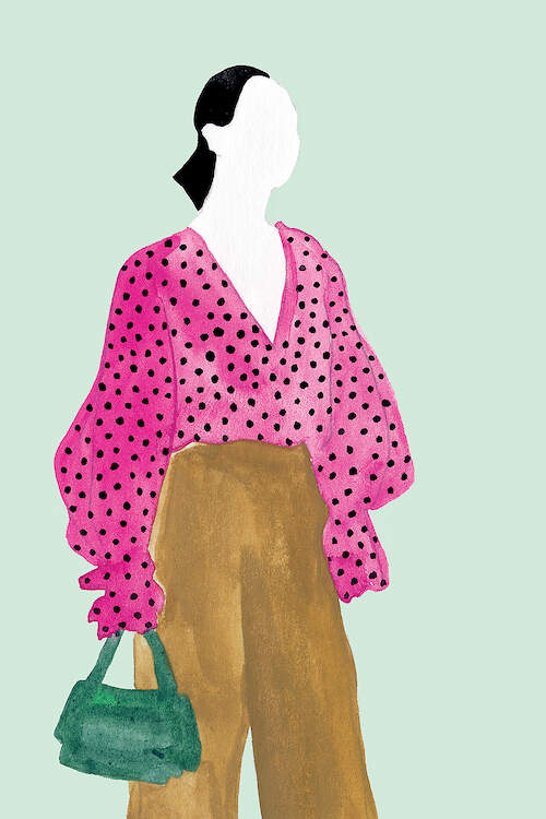 """""""Standing Figure II"""" by Melissa Wang shows a faceless woman with black hair wearing a pink, ruffled, polka dot blouse tucked into brown pants while holding a green purse."""