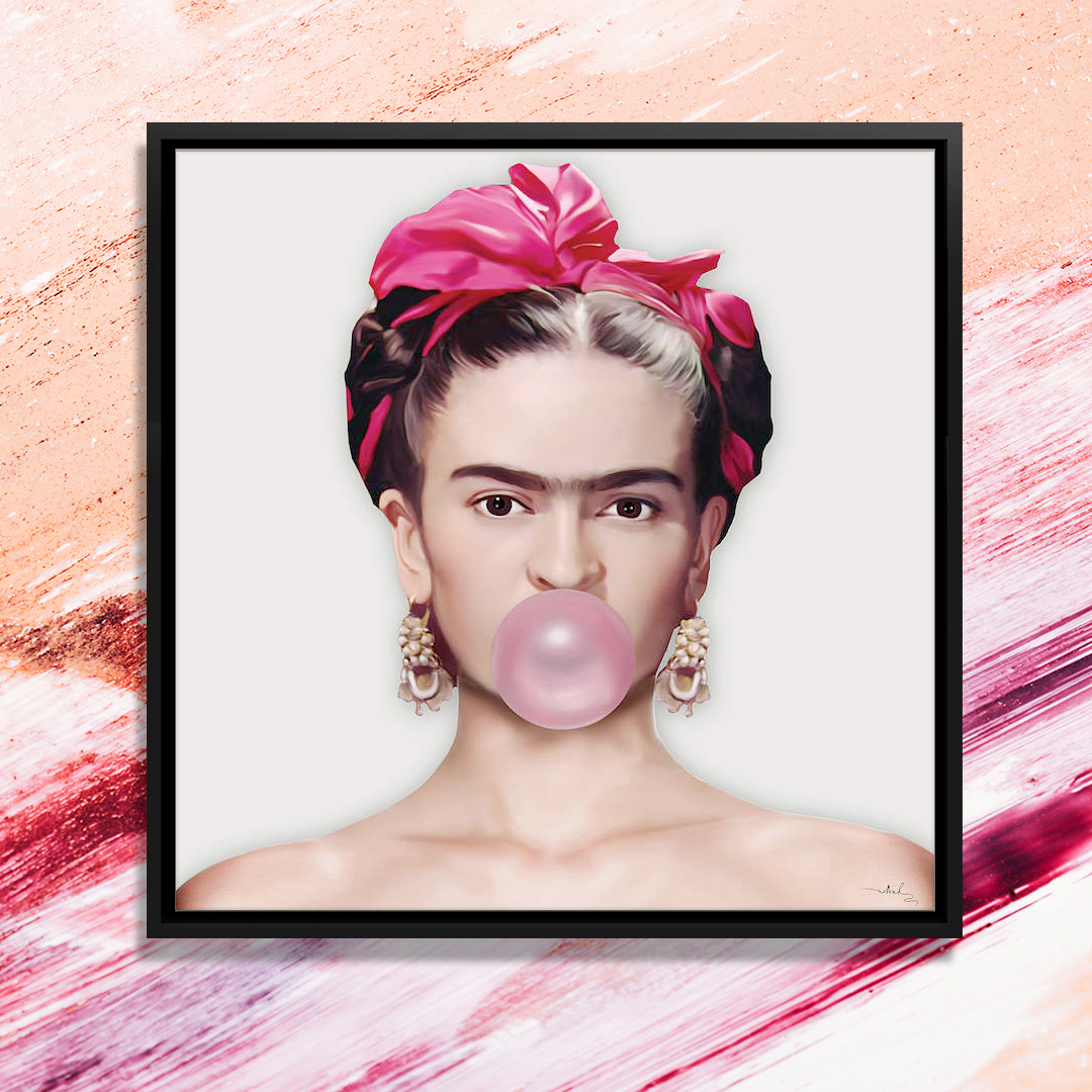 Multimedia photo of Frida Kahlo wearing a pink bow around her head and blowing a pink bubble gum