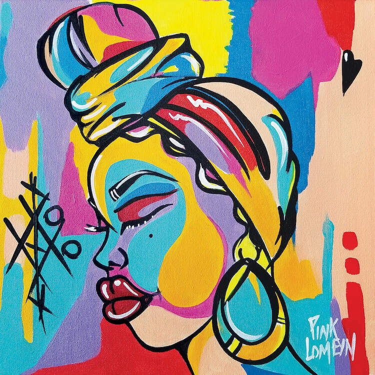 Painting of the profile of a black woman wearing a scarf around her head tied into a knot and large hoop earrings against a multi-color background