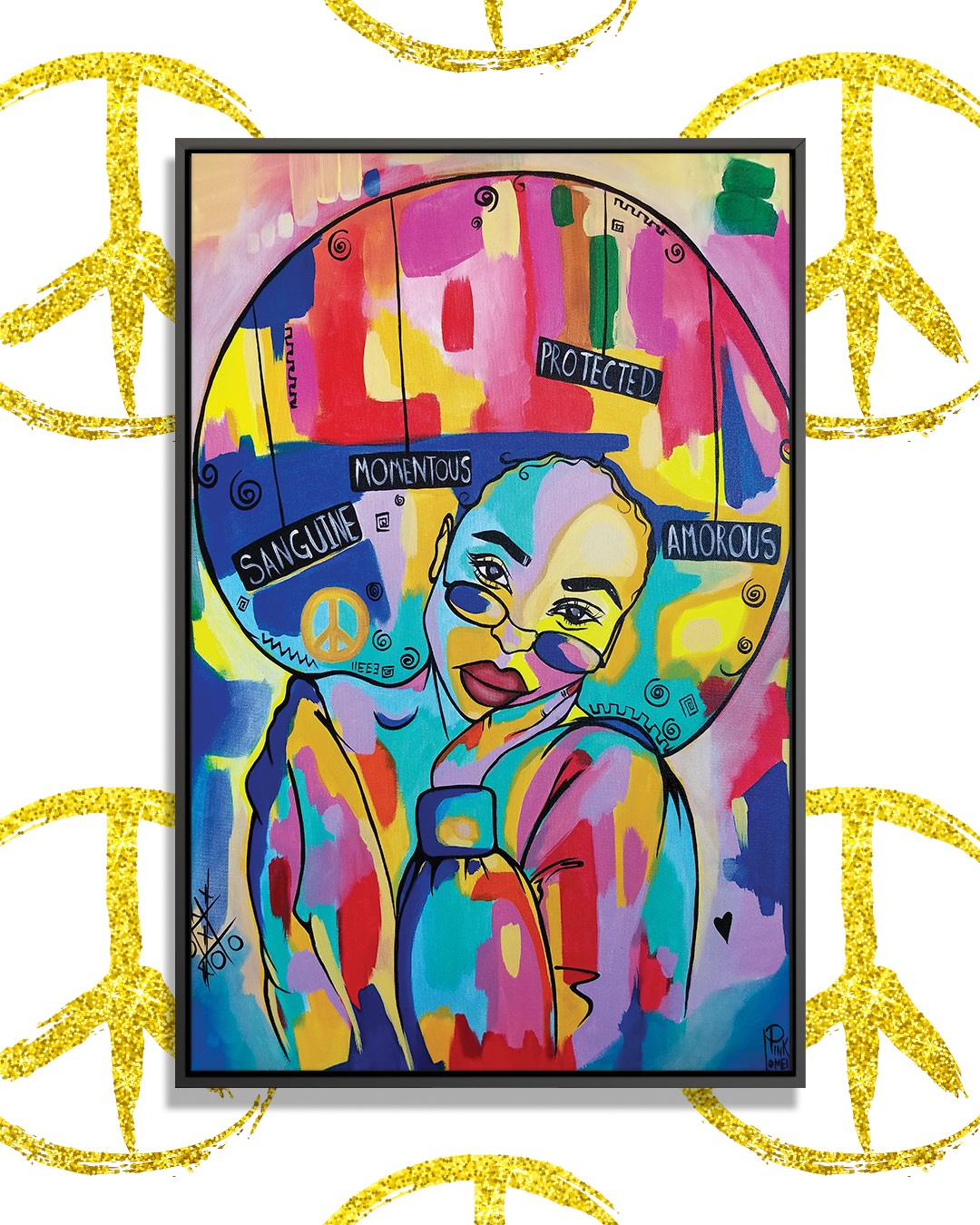"""Painting of a black woman with a large afro wearing sunglasses against a multi-color background with text around her that says """"Sanguine,"""" """"Momentous,"""" """"Protected,"""" and """"Amorous"""""""