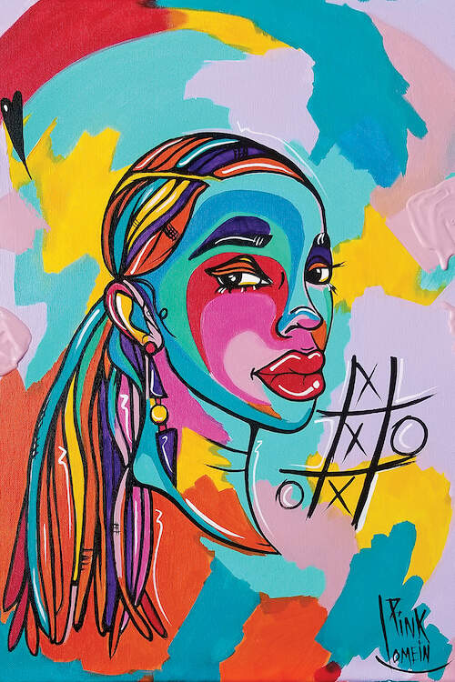 Painting of a black woman with long braids pulled into a pony tail wearing geometric drop earrings against a multi-color background