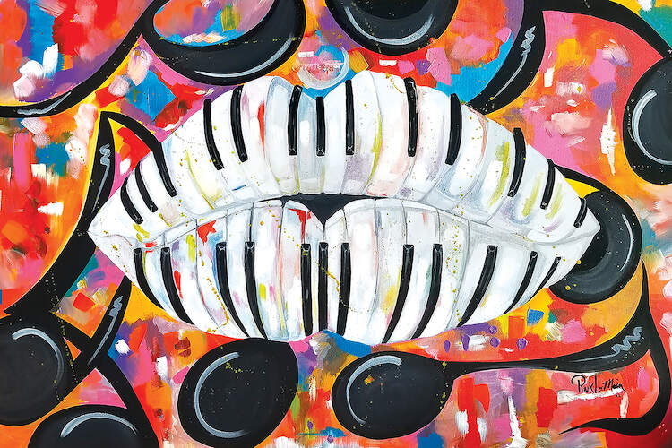 Painting of piano keys formed into the shape of female lips with music notes surrounding them against a multi-color background