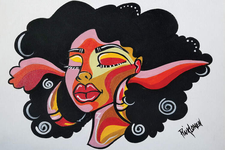 Painting of a black woman with curly black hair with streaks of red and pink in it, wearing large hoop earrings against a neutral background