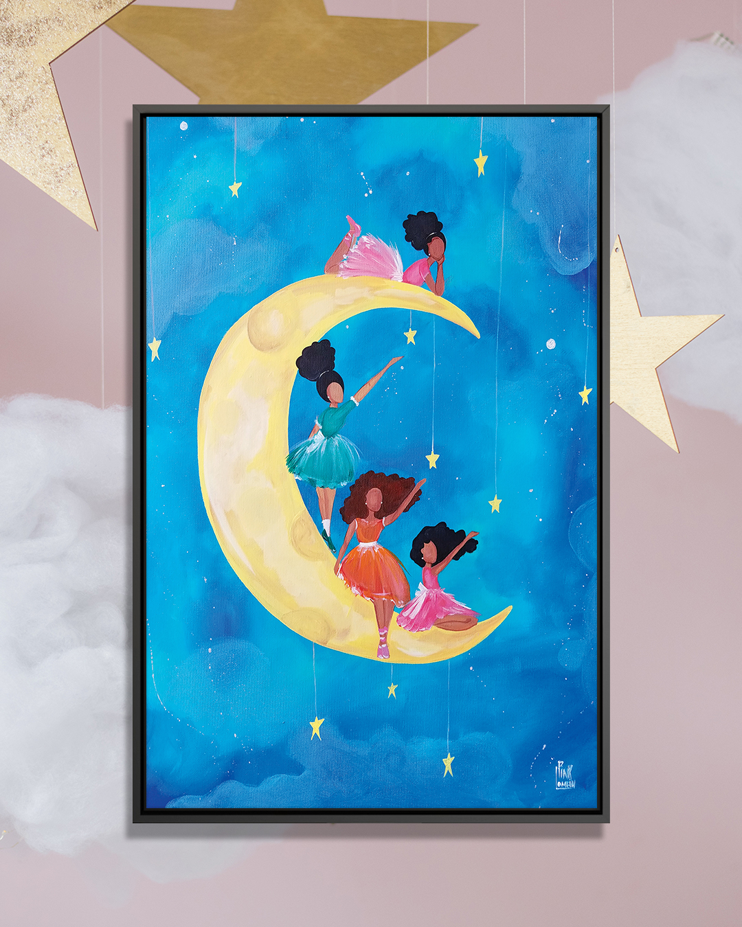 Painting of four black girls wearing pink, orange, and turquoise dresses sitting on a yellow crescent moon in blue clouds reaching for the sky