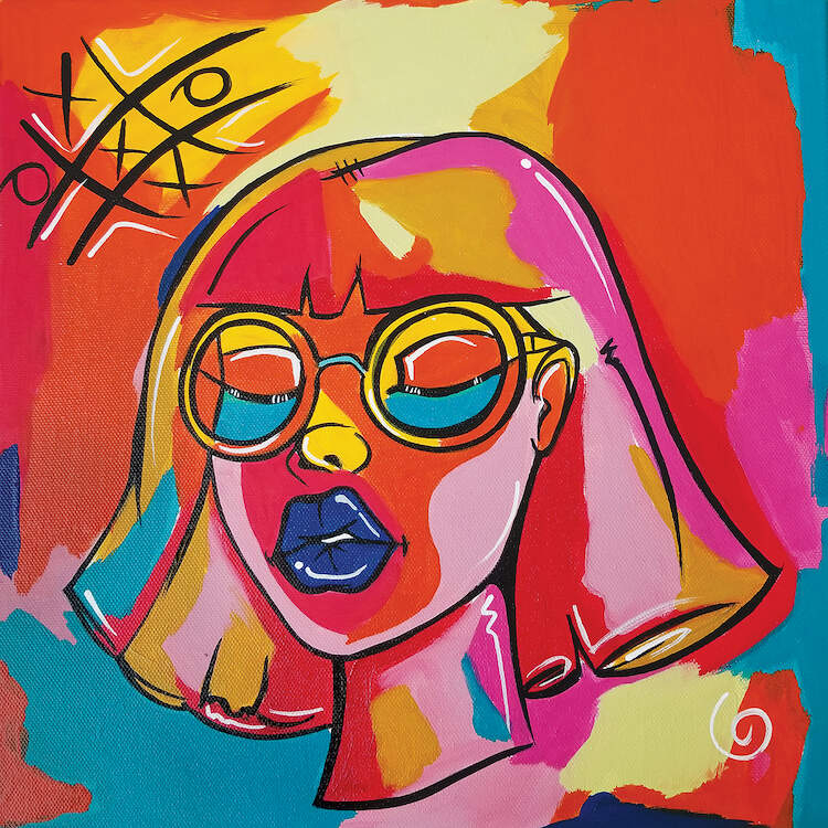 Painting of a black woman with short hair, glasses, and blue lipstick against a multi-color background