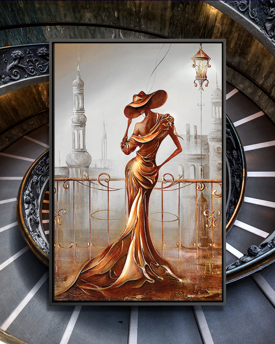 """""""Woman In Gold"""" by Raen shows the backside of a woman wearing a gold dress standing against a gold railing that overlooks."""