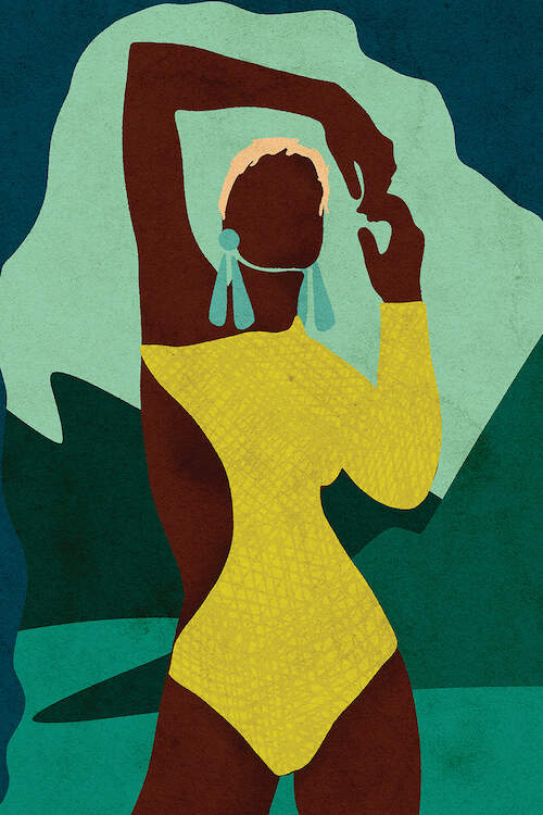 """""""Citronella"""" by Reyna Noreiga shows a faceless woman with short blonde hair wearing a green one-piece bathing suit with a side cutout."""