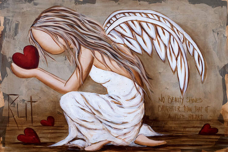"""""""Beauty Shines Brighter"""" by Rut Art Creations shows a faceless angel crouching over while holding a red heart in her hands and the words """"No beauty shines brighter than that of a pure heart"""" in the background."""