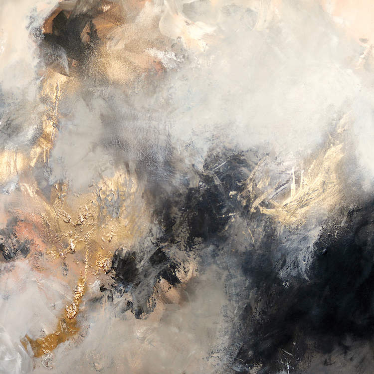 """""""Parched"""" by Sana Jamlaney shows gold, white, and black cloud-like figures."""