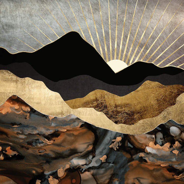 """""""Copper And Gold Mountains"""" by SpaceFrog Designs shows the sun peeking over black, gold, and copper mountains."""