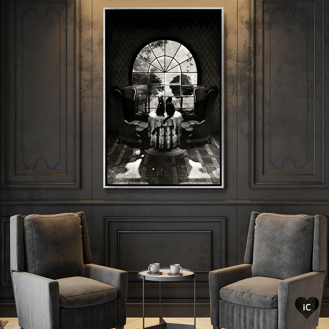 """""""Room Skull B/W"""" by Ali Gulec shows two chairs and a table between them with two cats sitting on it in front of an arched window, forming a skull-like illusion."""