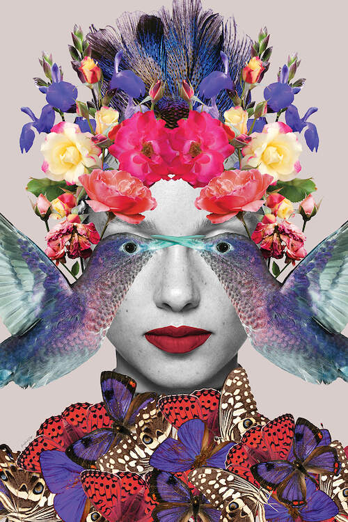 """Billie Sings"" by Ana Paula Hoppe shows a person's face with two birds over their eyes and flowers and butterflies covering their head and neck."