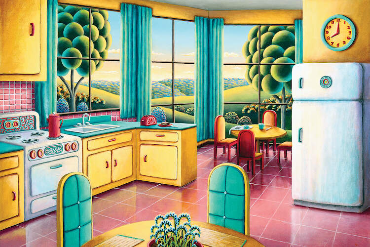 """""""Sunday Morning"""" by Andy Russell shows a sun-filled kitchen with yellow cabinets, blue curtains, and a large window with trees and flowering hills in view."""