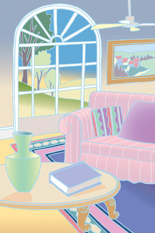 """""""Morning"""" by Bigelow Illustrations shows the interior of a living room featuring a pink couch, wood coffee table, white ceiling fan, and a large arched window."""