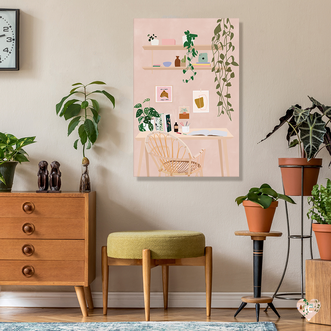 """""""Studio Goals"""" by Carla Llanos shows a rattan chair at a wooden desk beneath shelves holding vases, books, and plants."""