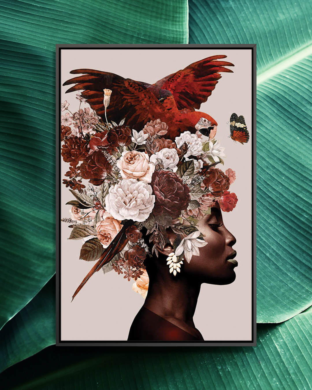 """Woman With Flower I"" by Danilo de Alexandria shows the profile of a woman with a large floral arrangement on her head and a red parrot flapping its wings on top of it."