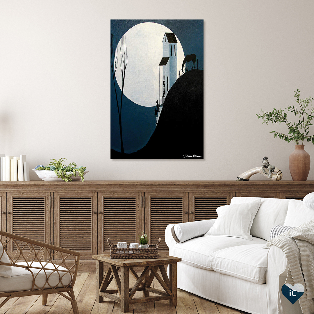 """""""Confiding In The Moon"""" by Debbie Criswell shows the silhouette of a horse and a woman sitting on her front steps with the moon glowing in the background."""