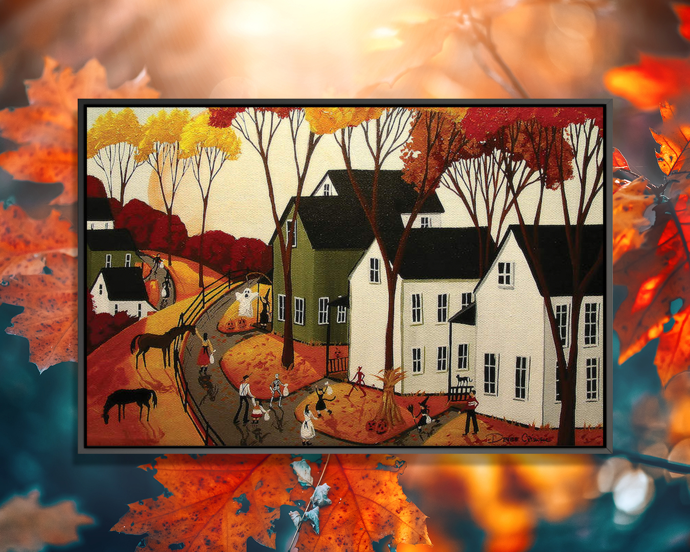 """""""Early Halloween"""" by Debbie Criswell shows people outside trick or treating next to horses and white houses under red, yellow, and orange trees."""