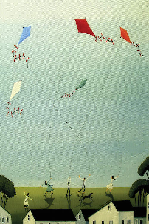 """""""Five Kites Flying"""" by Debbie Criswell shows children flying different colored kites above houses in the clear, blue sky."""